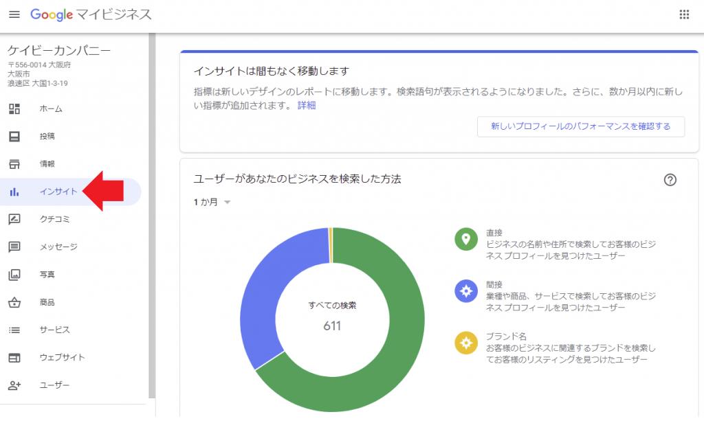 Googleマイビジネスの運用 インサイトの確認