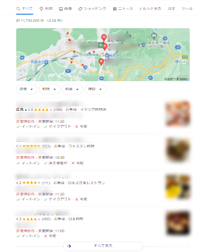 ローカルスナックパック表示例「軽井沢 レストラン」