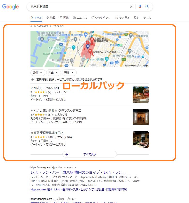 MEO対策とポータルサイトの検索結果表示例